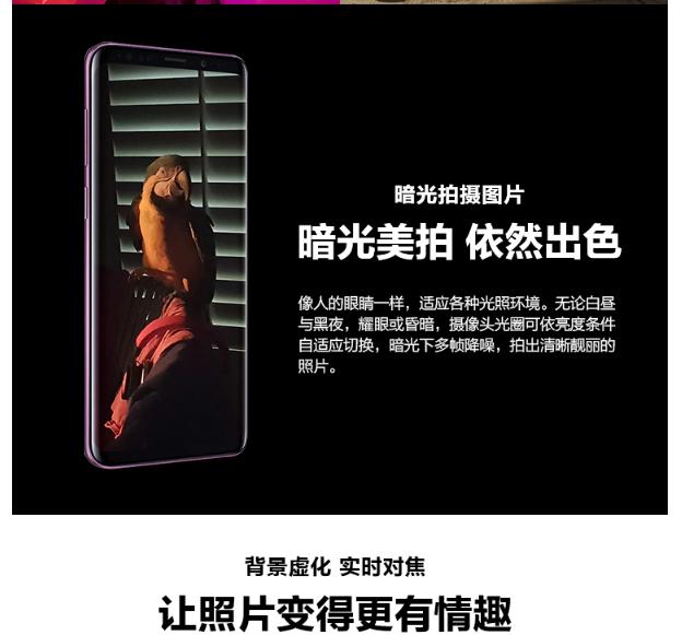 三星(SAMSUNGï¼?Galaxy S9+(SM-G9650/DS)手æœ?谜夜é»?6G+128G 全网é€?