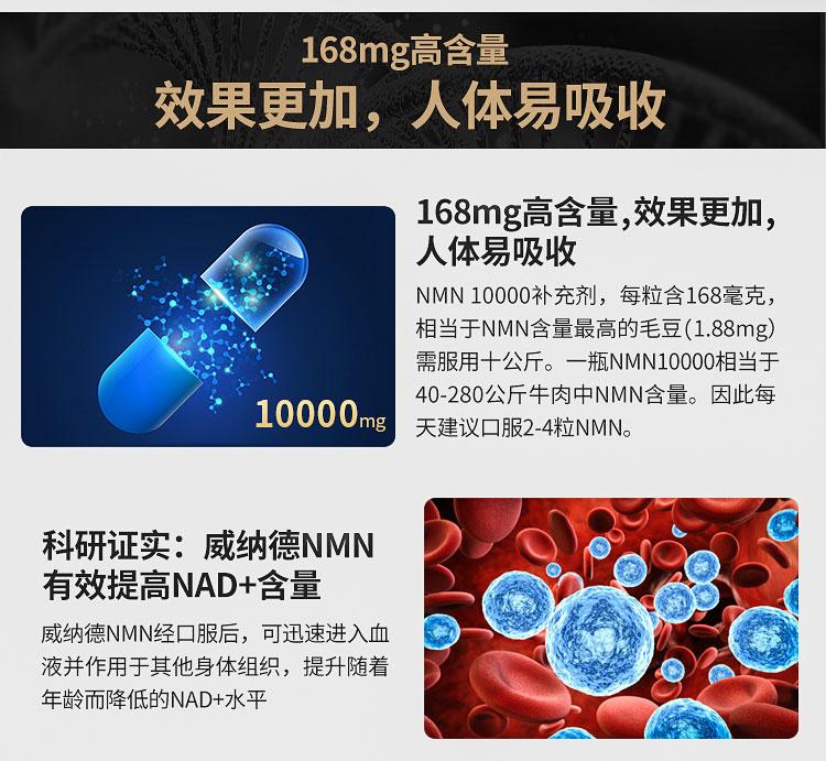威纳å¾?WELNADS)NMN10000β-煙醯胺單核苷é…?68mg*60粒ã€新品首发ã€?